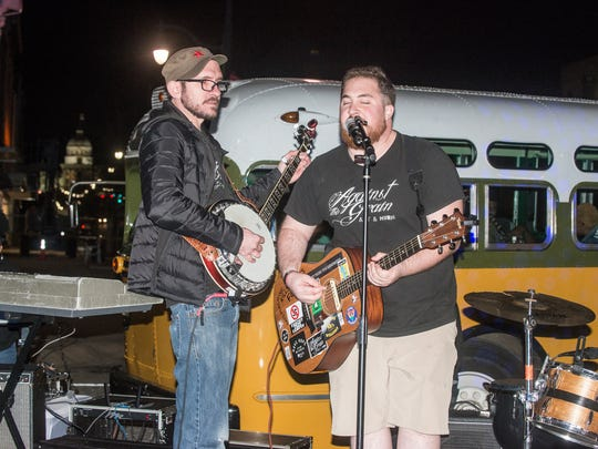 The act known as The Last Thing You Remember, Nelson Jancaterino and Adam Powell, perform at Art on the Square 2018 on Friday, March 2, 2018, in downtown Montgomery by the fountain to commemorate the 53rd annual Selma to Montgomery March. The event was hosted by I Am More Than and More Than Tours and featured music, dancing, talks and live paintings.