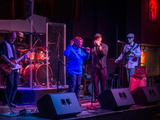 """The John Bull Band performs Thursday, March 29, 2018, at BB King's in Montgomery. They're made up of blues singer and harp player John Bull, drummer Marcus Donerlson, bass player James """"Bassface"""" Strankman, singer Peggy Walker, and new guitarist Ed Pickett"""