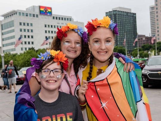 Jake Merkel, Lucy Nolan and Angie Saranian at the Motor City Pride Festival at Hart Plaza in Detroit on June 9, 2018.