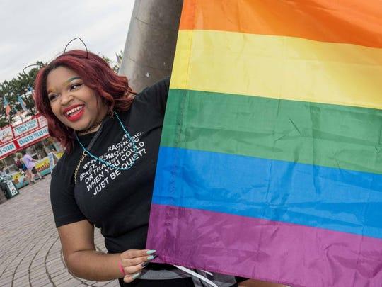 Darian Jones of Detroit at the Motor City Pride Festival at Hart Plaza in Detroit on June 9, 2018.