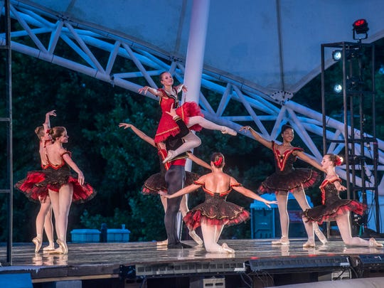 "A scene from from ""Paquita Suite,"" a Spanish style classical ballet. The Alabama Dance Theatre presented Stars on the Riverfront on July 29 ad 30, two days of free ballet at Montgomery's Riverwalk Amphitheater."