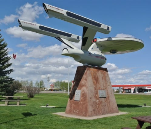The tiny town of Vulcan, Canada, plays up its Trek connection with an Enterprise monument and Vulcon, a Trek festival scheduled for July 22-23.