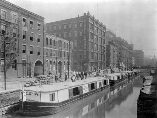 The Ohio Boat Co. fleet. The boats sit on the Erie Canal in Cincinnati.
