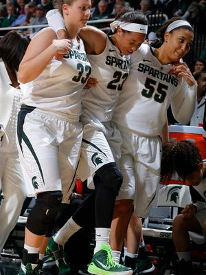Michigan State's Aerial Powers, center, is helped off the court by Jenna Allen, left, and Kennedy Johnson after injuring her leg against Louisville Thursday, Dec. 3, 2015, in East Lansing, Mich. Michigan State fell 85-78.