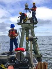 Crewmembers from Coast Guard Aids to Navigation Team