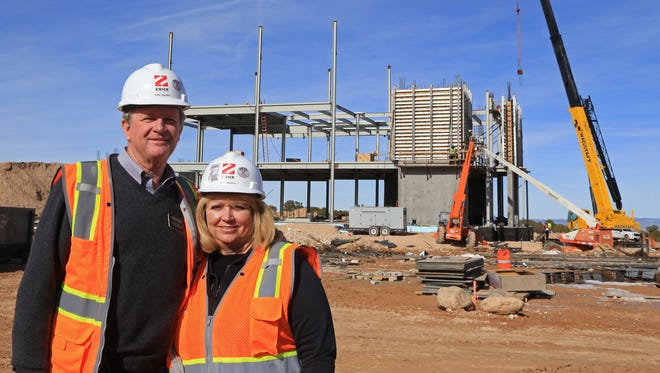 Elder Joe Burgess and his wife, Sister Beverly Burgess, are serving as missionaries on the construction site of the Cedar City Utah Temple of The Church of Jesus Christ of Latter-day Saints until the building's completion.