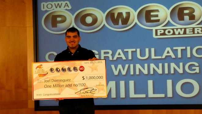 Joel Dominguez, 23, of Sioux City, won $1 million in Saturday's Powerball drawing.