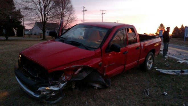 This cellphone photo taken by a bystander shows David Warch's truck after the accident on Feb. 21. Warch walked away from this incident with only minor injuries because he was wearing his seat belt correctly.