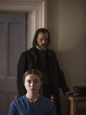 """Paul Hilton, background, and Florence Pugh in """"Lady Macbeth."""""""