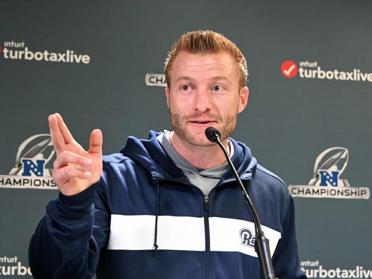 Jan 17, 2019; Thousand Oaks, CA, USA: Los Angeles Rams coach Sean McVay addresses the media at a press conference prior to the NFC Championship game against the New Orleans Saints. Mandatory Credit: Kirby Lee-USA TODAY Sports