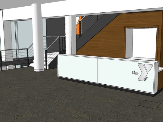 An architect's rendering of the desk area in the wellness center of a remodeled downtown Green Bay YMCA.