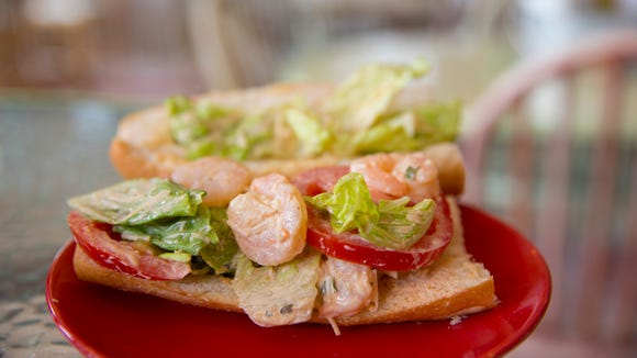 A shrimp remoulade po boy at Zydeco Po Boy and Daiquiri