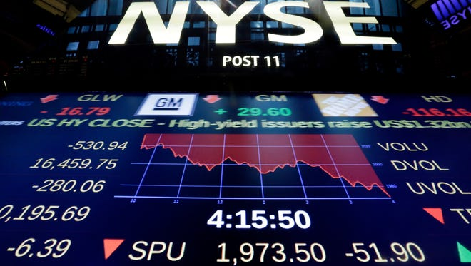 A screen above the floor of the New York Stock Exchange shows the closing numbers, Friday, Aug. 21, 2015. The Dow Jones industrial average fell to 16,459.75, and ended down 3.1 percent on Friday. The Standard & Poor's 500 index dropped 64.84 points, or 3.2 percent, to 1,970.89. (AP Photo/Richard Drew)