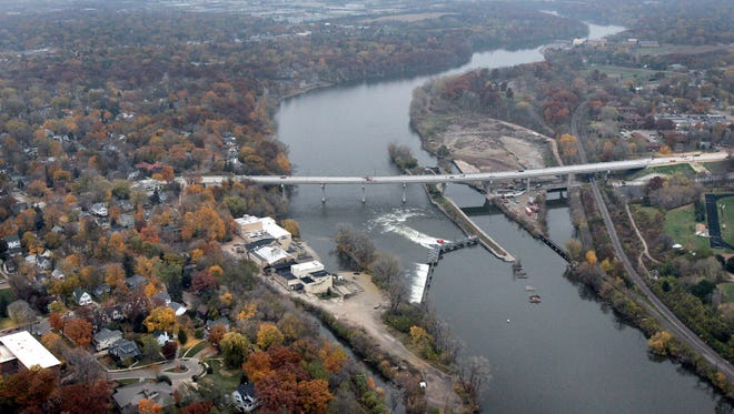 Aerial of new College Avenue bridge and Fox River in Appleton.