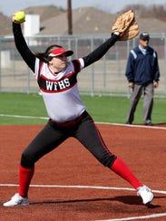 Wichita Falls High School's Tiffany Tate pitches against