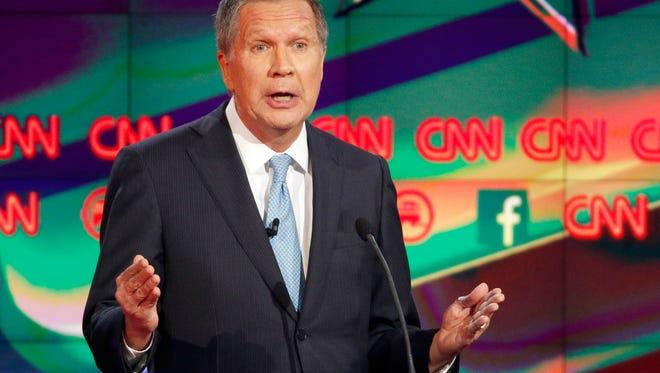John Kasich speaks during the CNN Republican presidential debate at the Venetian Hotel & Casino on Tuesday, Dec. 15, 2015, in Las Vegas. (AP Photo/John Locher)