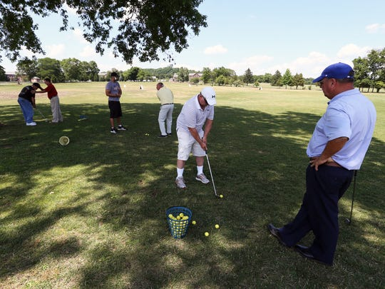 Members of the PGA are working with V.A. Lyons Medical Center in Bernards on a golfing program in which PGA Professionals provide golf instruction for military Veterans with disabilities (PTSD) on Wednesday July 6 , 2016.