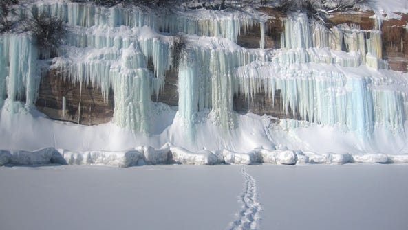 Ice climbing at Pictured Rocks National Lakeshore in