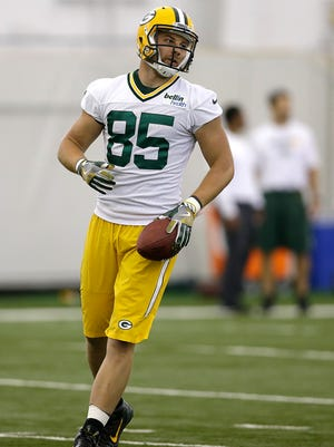 Green Bay Packers tight end Mitchell Henry (85) during OTA practice inside the Don Hutson Center on Monday, June 6, 2016.