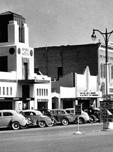 A 1943 photograph shows the Republic & Gazette Building.