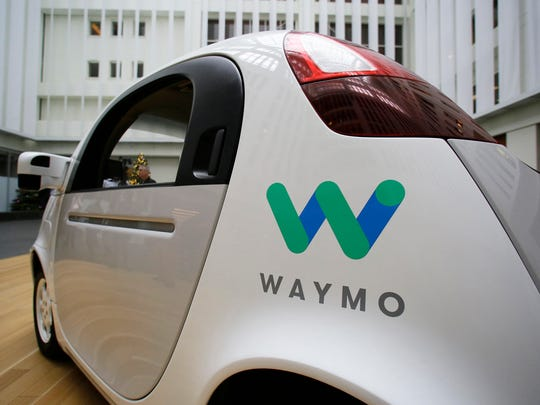 The Waymo driverless car is displayed on Dec. 13, 2016 during a Google event in San Francisco.