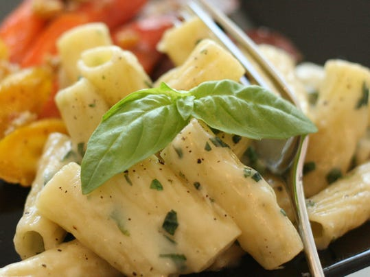 Rigatoni with Brie and Basil and Garlic-roasted Rainbow Carrots.jpg
