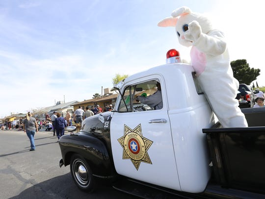 The Easter Bunny rode in an antique sheriff's truck during the Northeaster Parade in 2018.