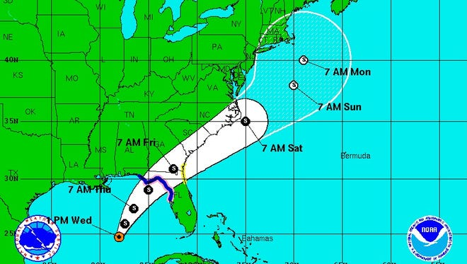 The 5-day forecast cone for Tropical Storm Hermine.