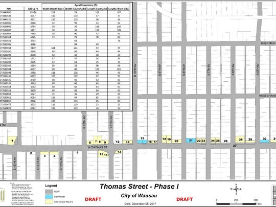 This map shows the remnant parcels along Thomas Street, which were left after the first phase of road construction.