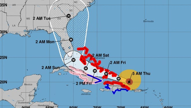 This image provided by the National Hurricane Center shows the projected track for Hurricane Irma as of Thursday, Sept. 7, 2017.