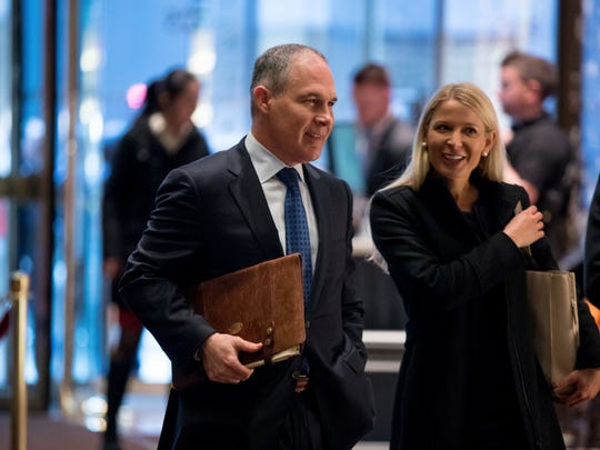 Oklahoma Attorney General Scott Pruitt arrives at Trump Tower in New York City on Dec. 7, 2016.