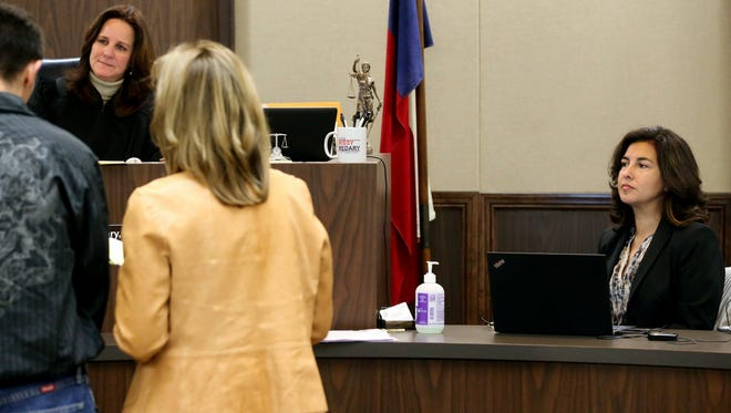 Court reporter Myra Haney from the 347th District Court transcribes District Judge Missy Medary during a court hearing on Thursday, Jan. 19, 2017, at the Nueces County Courthouse in Corpus Christi.