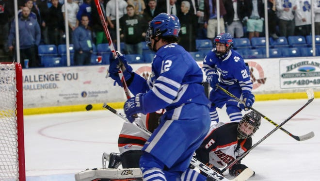 Catholic Central senior captain Nick Macari (12) scores to make it 2-0 in the state finals over Brighton at USA Hockey Arena.