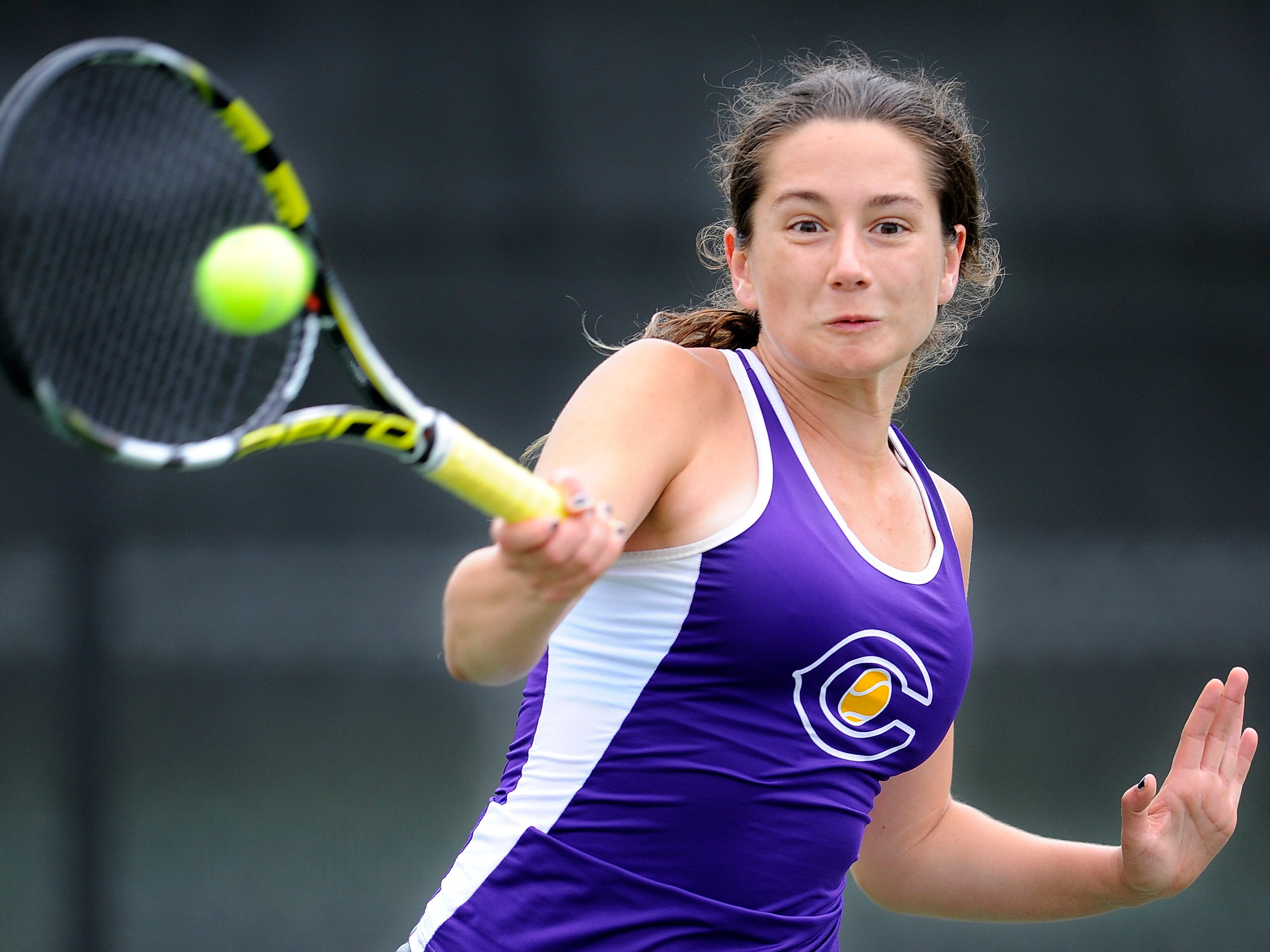 Clarksville's Sofia Phillips returns a shot during her AAA match against Hardin County's Julia Mazanek. Phillips won the match to move to the semifinals.
