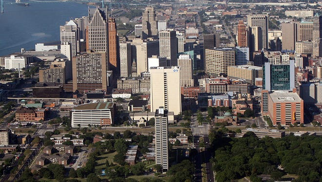 The City of Detroit looking from Lafayette Park to downtown.
