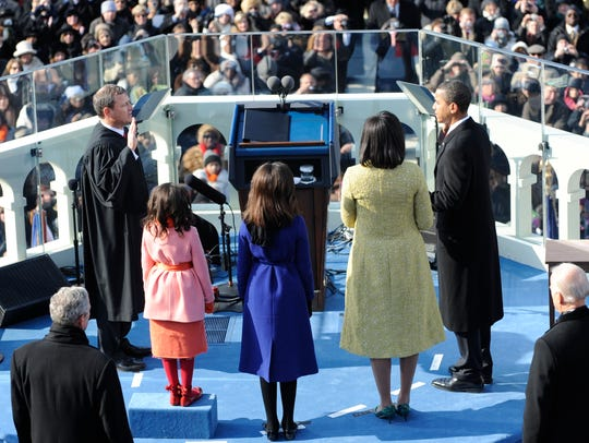 Then-President-elect Barack Obama is sworn in as the
