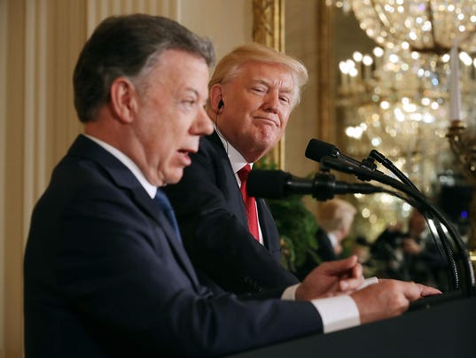 Donald Trump Holds Joint Press Conference With Colombian President Santos