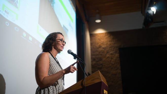 Wendy Lu McGill, co-founder of Rocky Mountain Micro Ranch, pitches her business at the AgAssembly 2017 conference. AgSprint, part of the suite of accelerator programs at New Mexico State University's Arrowhead Center, has announced open applications for the Spring 2018 cohort, available at arrowheadcenter.nmsu.edu/agsprint/. The application deadline is March 21.