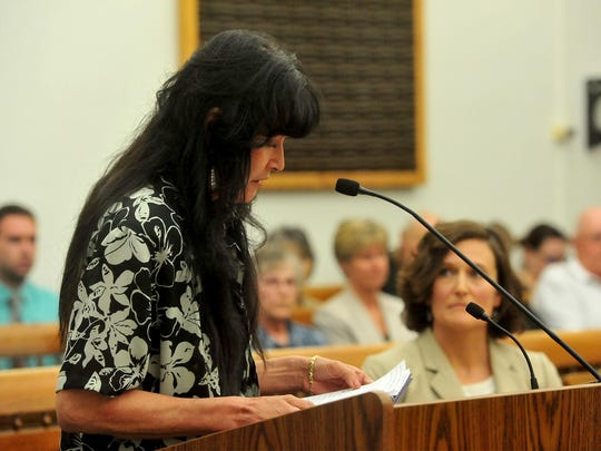 Jackie Newman, widow of Tim Newman, reads a victim impact statement Wednesday during the 2016 change of plea hearing for Joseph Campbell, who shot and killed Tim Newman in 2013 during a dispute over land access.