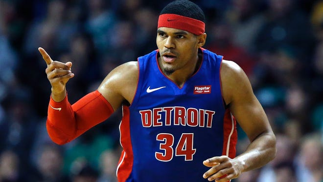 Detroit's Tobias Harris celebrates his 3-pointer during the second quarter Monday. Harris finished with a game-high 31 points.