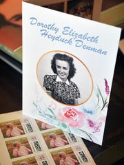 The design of the invitation to Dorothy Denman's 100th birthday celebration includes her photo, and things she loves, music, flowers and pastels. The invitations were mailed using custom postage stamps bearing her portrait. Denman resides at Presbyterian Manor and will turn 100 on March 28th.