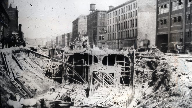 The Cincinnati subway tunnels constructed underneath Central Parkway along the old canal route, but were never completed.