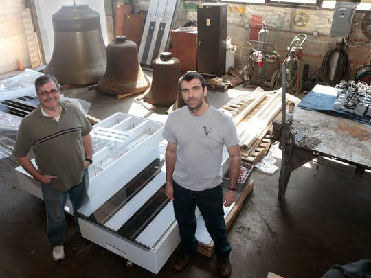 Jack Klosterman and Tim Verdin with the Verdin Co. constructed a foot piano that will be installed in Smale Park. Some of the engineering challenges included creating a non-slip surface, ensuring the structure will hold up to heavy use and allowing the structure to be moved in case of flooding.
