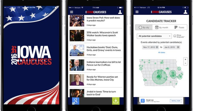 The Des Moines Register Iowa Caucuses app.