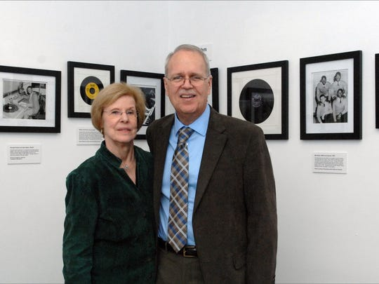 Pam and Charlie Horner of Classic Urban Harmony at their exhibit featuring Asbury Park's West Side music scene.
