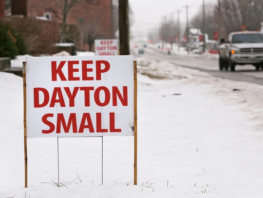 Keep Dayton Small sign posted along Ind. 38 Monday,