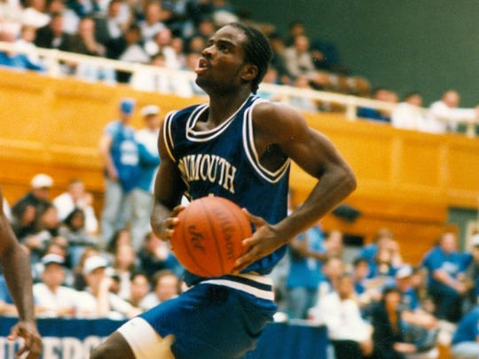 Red Bank's Mustafa Barksdale drives to the basket while playing for Monmouth University during the 1995-96 season.