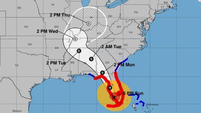 Hurricane Irma's forecast cone as of 5 p.m/ Sunday, Sept. 10, 2017.