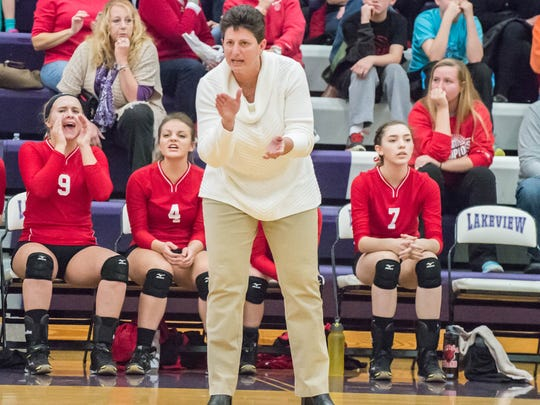 St. Philip's head coach Vicky Groat during game against Mendon Tuesday evening/