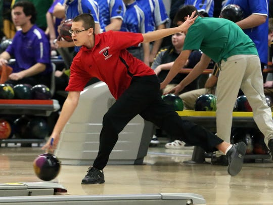 NJSIAA boys bowling Team Championship held at Carolier Lanes in North Brunswick on Friday February 19, 2016.Woodbridge High School's John Drost bowls during the event.